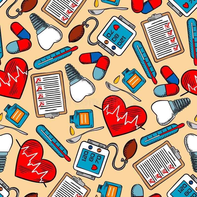 Teste padrão sem emenda médico colorido do fundo ilustração royalty free