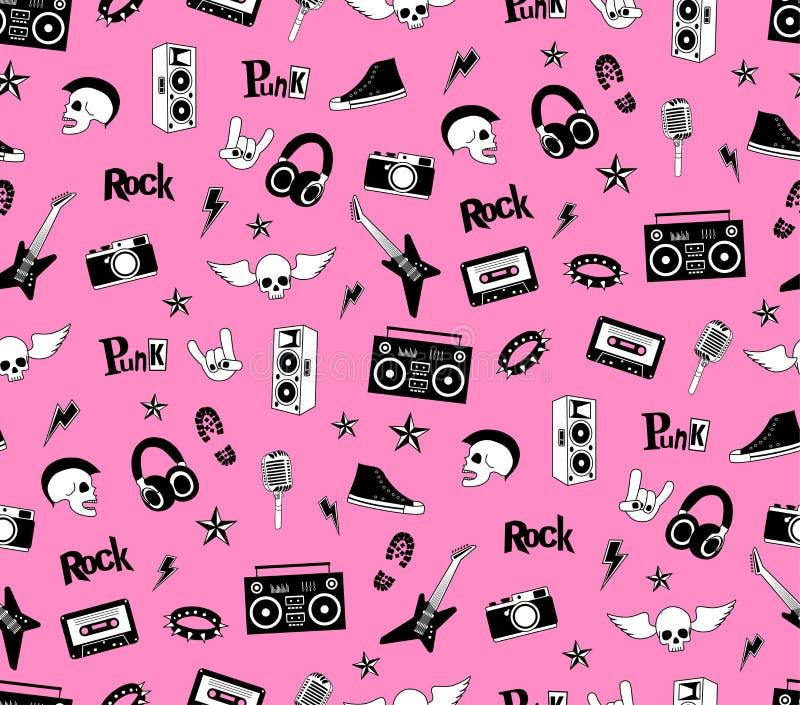Teste padrão sem emenda Música do punk rock isolada no fundo cor-de-rosa Rabiscar elementos, emblemas, crachás, logotipo e ícones ilustração royalty free