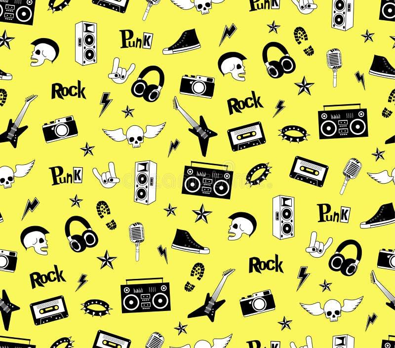 Teste padrão sem emenda Música do punk rock no fundo amarelo Rabiscar elementos, emblemas, crachás, logotipo e ícones do estilo ilustração stock