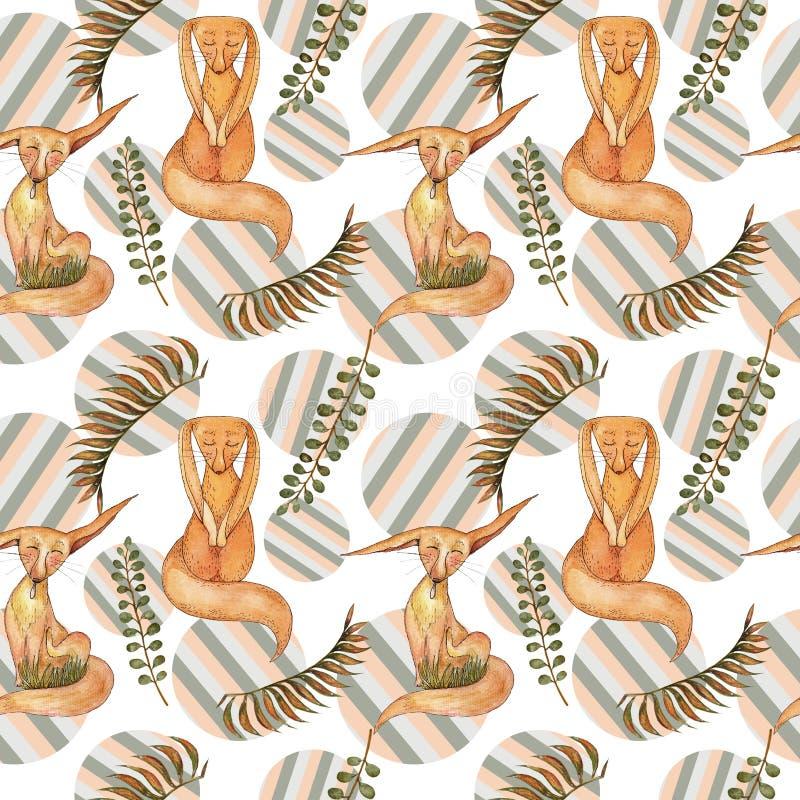 Teste padrão sem emenda macio com as raposas pequenas vermelhas, as folhas e círculos listrados ilustração royalty free