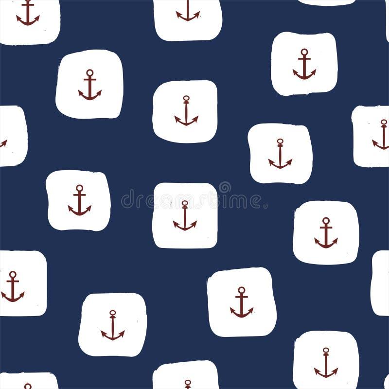 Teste padrão sem emenda marinho com âncoras vermelhas e quadrados brancos Vetor ilustração royalty free