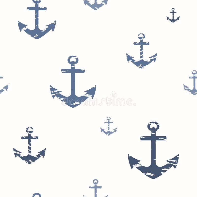 Teste padrão sem emenda marinho com as âncoras esfarrapadas azuis em um fundo branco ilustração royalty free