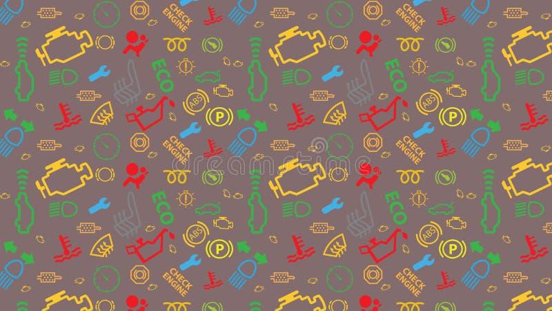 Teste padrão sem emenda marrom do vetor Textura dos ícones do painel do carro Repetindo sinais de código do dtc Colorido, irregul ilustração do vetor