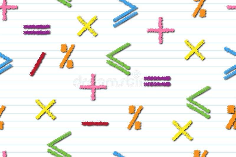 Teste padrão sem emenda matemático de sinais multi-coloridos da matemática em uma folha listra-alinhada, no conceito da educação  ilustração stock