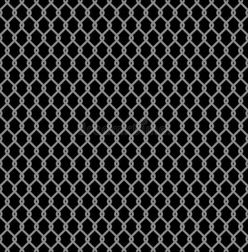 Teste padrão sem emenda metálico da cerca prendida isolado no fundo preto Rede de arame de aço Ilustração do vetor ilustração do vetor