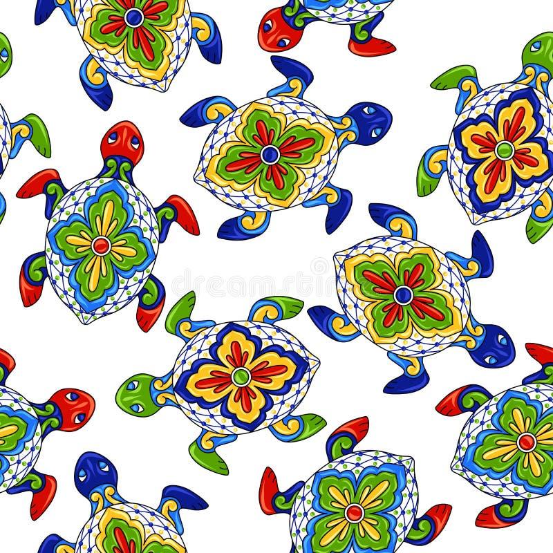 Teste padrão sem emenda mexicano com tartarugas ilustração do vetor
