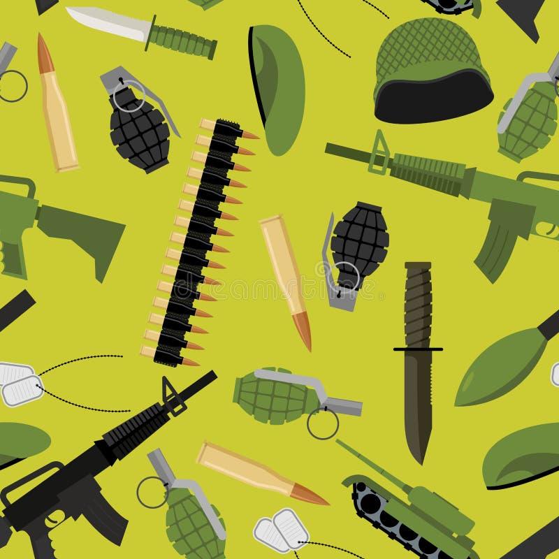 Teste padrão sem emenda militar Objetos do fundo do exército ilustração stock