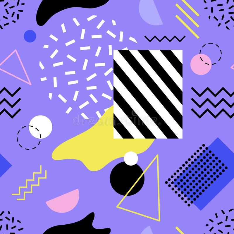 Teste padrão sem emenda moderno colorido com linhas e formas da vária textura no fundo roxo Contexto abstrato na moda ilustração royalty free