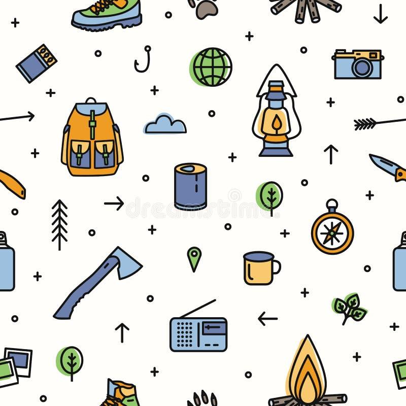 Teste padrão sem emenda moderno com caminhada e equipamento e ferramentas turísticos para a viagem de acampamento no fundo branco ilustração royalty free
