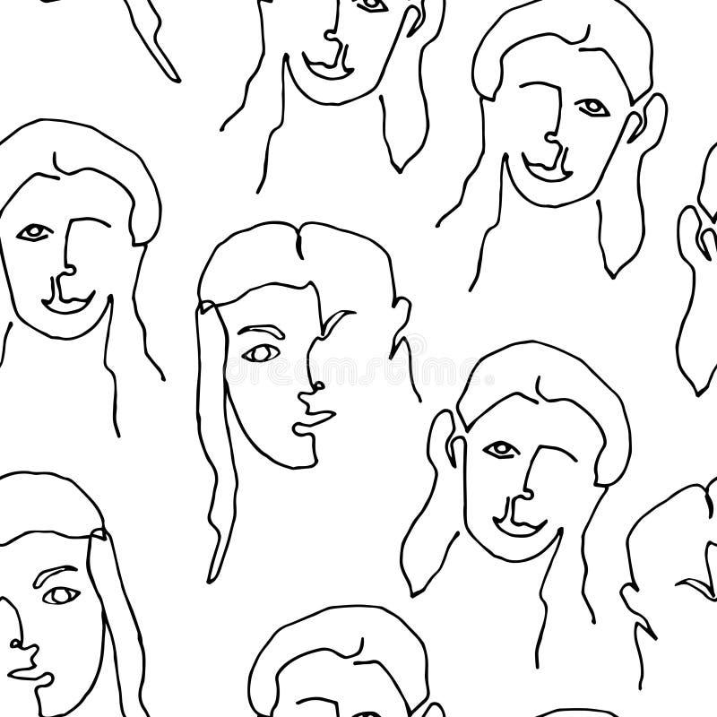 Teste padrão sem emenda moderno com a cara abstrata linear da mulher Linha arte cont?nua Um a l?pis desenho ilustração royalty free