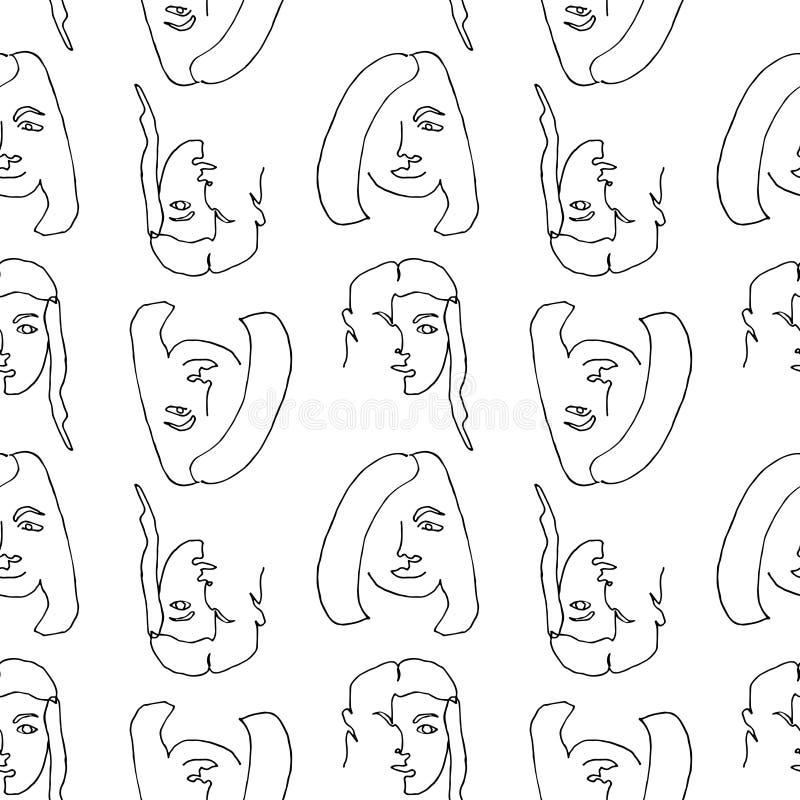 Teste padrão sem emenda moderno com a cara abstrata linear da mulher Linha arte cont?nua Um a l?pis desenho ilustração stock