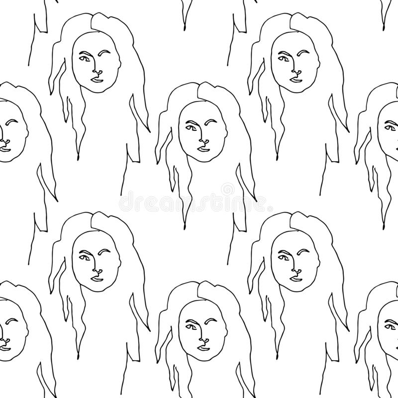 Teste padrão sem emenda moderno com a cara abstrata linear da mulher Linha arte cont?nua ilustração royalty free
