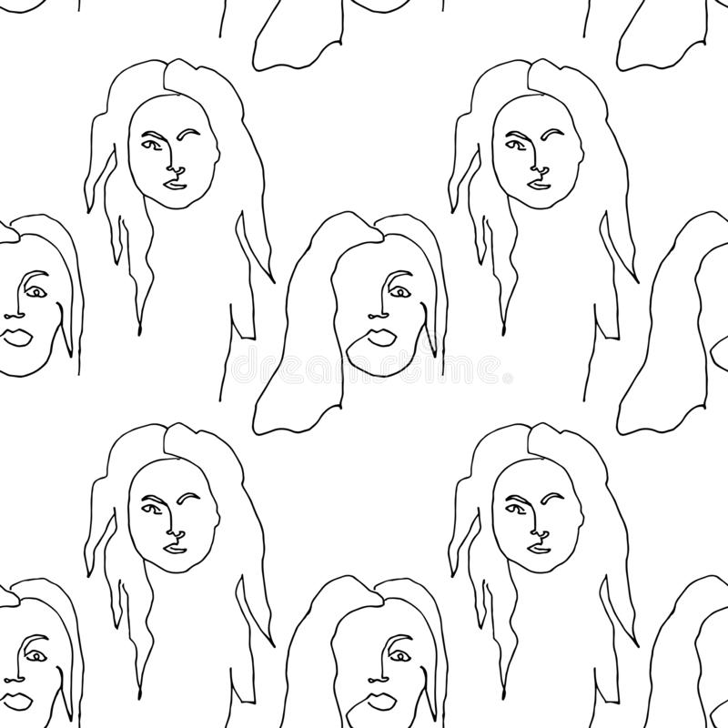 Teste padrão sem emenda moderno com a cara abstrata linear da mulher Um a l?pis desenho Gr?fico minimalista ilustração do vetor
