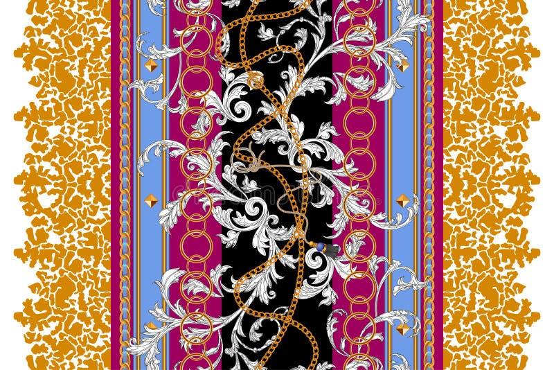 Teste padrão sem emenda moderno com correntes e folhas Remendo barroco do vetor para a cópia, tela, lenço ilustração stock