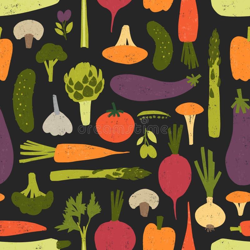 Teste padrão sem emenda moderno com os vegetais e os cogumelos orgânicos deliciosos frescos no fundo preto Contexto com saudável ilustração stock
