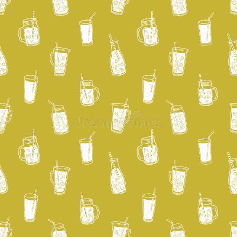 Teste padrão sem emenda monocromático com os refrescos do verão, os sucos saborosos ou os batidos tirados com linhas de contorno  ilustração royalty free