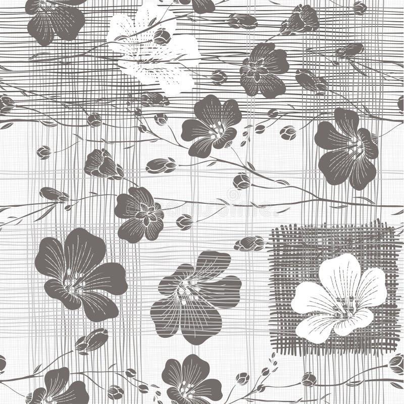 Teste padrão sem emenda monocromático de flores abstratas Flor desenhado à mão ilustração stock