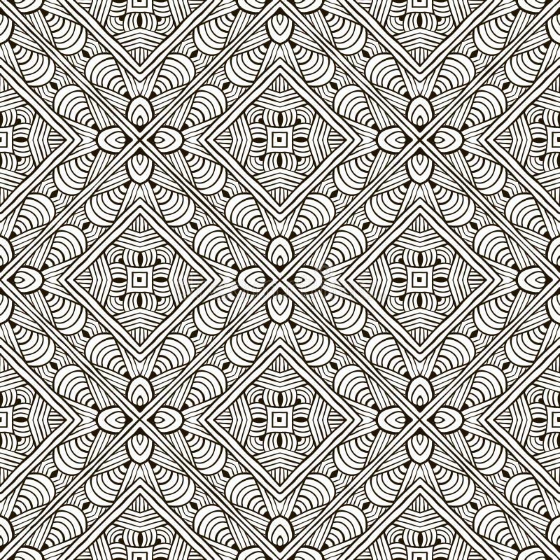 Teste padrão sem emenda monocromático desenhado à mão abstrato ilustração stock