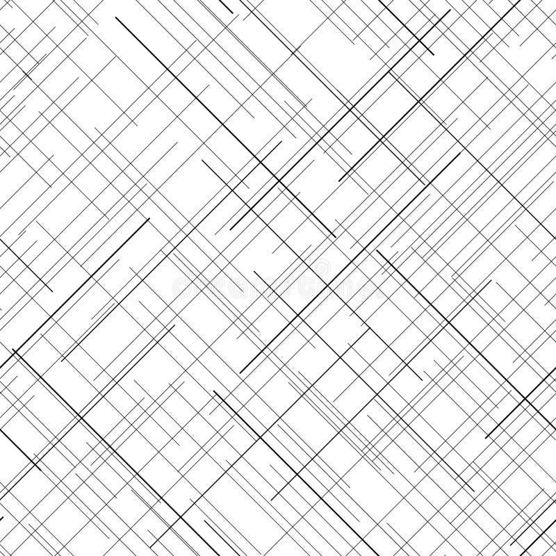 Teste padrão sem emenda monocromático Linhas aleatórias diagonais Textura abstrata ilustração do vetor
