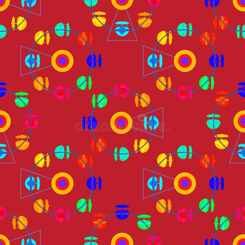 Teste padrão sem emenda multicolorido da roda de ferris da atração ilustração do vetor