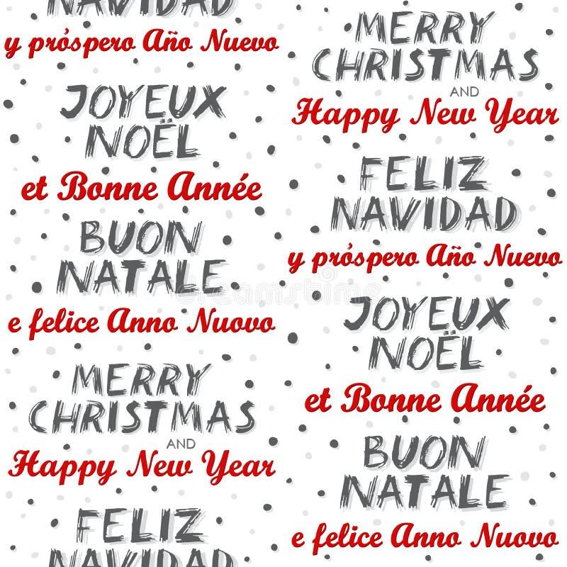 Teste padrão sem emenda multilingue do Feliz Natal e do ano novo feliz no branco ilustração royalty free