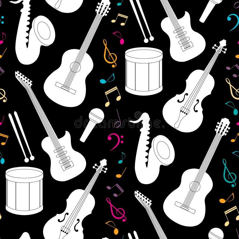 Teste padrão sem emenda musical com instrumentos ilustração royalty free