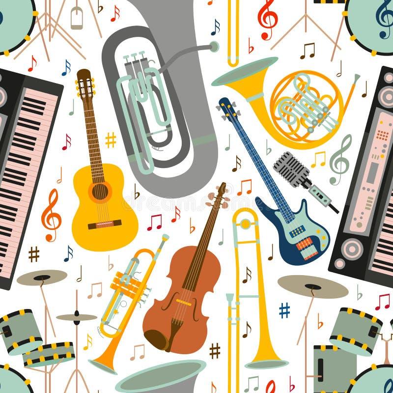 Teste padrão sem emenda musical feito de instrumentos musicais, da clave de sol e de notas diferentes ilustração stock