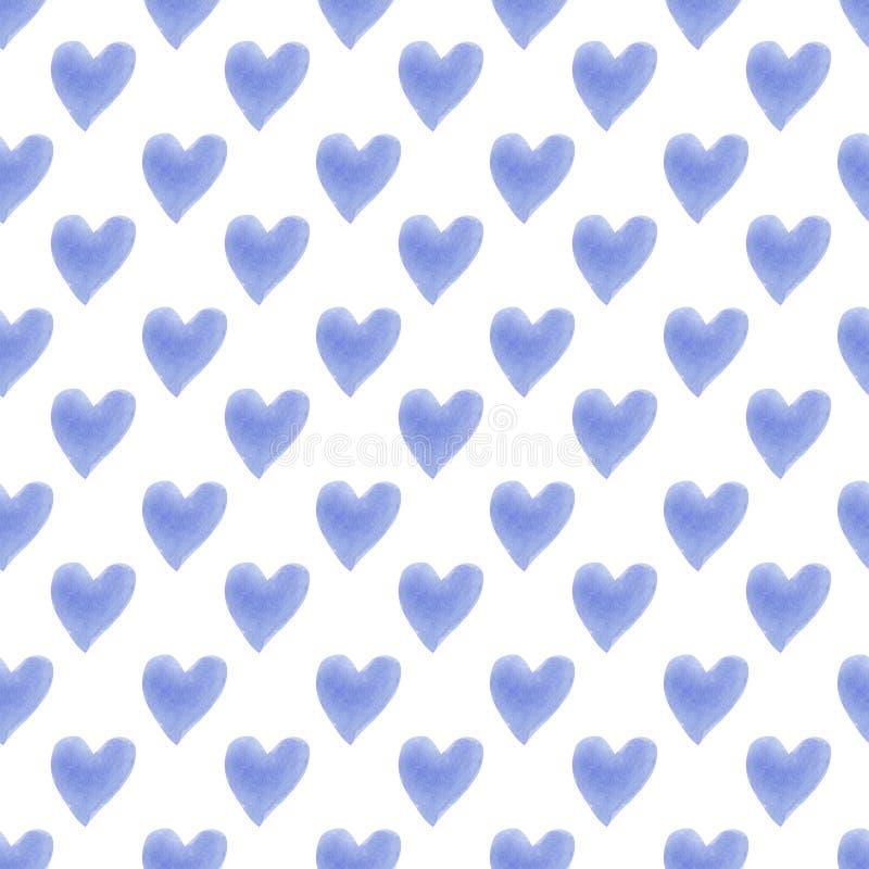 Teste padrão sem emenda na moda bonito tirado mão das silhuetas dos corações da aquarela ilustração royalty free