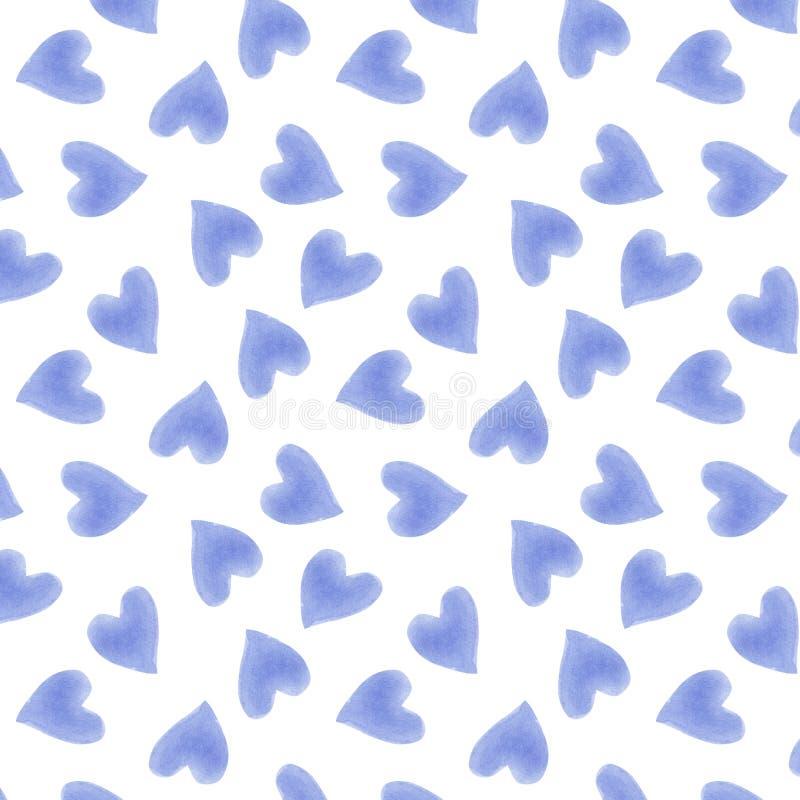 Teste padrão sem emenda na moda bonito tirado mão das silhuetas dos corações da aquarela ilustração do vetor