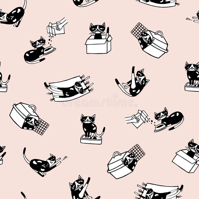 Teste padrão sem emenda na moda com gatinho cômico e suas atividades diárias contra a luz - fundo cor-de-rosa Gato engraçado dos  ilustração do vetor