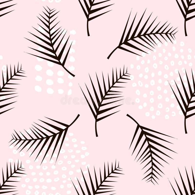 Teste padrão sem emenda na moda do ramo da palma com elementos tirados mão Fundo da folha de Monstera Grande para a tela, vetor I ilustração royalty free
