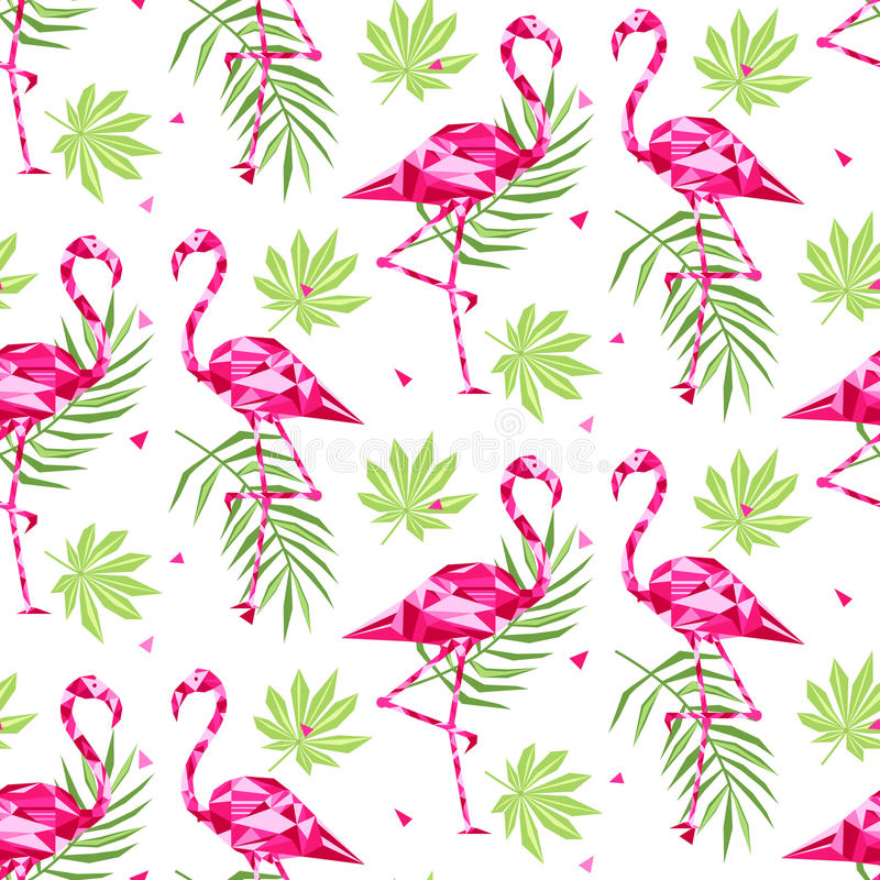 Teste padrão sem emenda na moda tropical com flamingos cor-de-rosa, e folhas de palmeira verão, fundo exótico da arte de Havaí, m ilustração royalty free