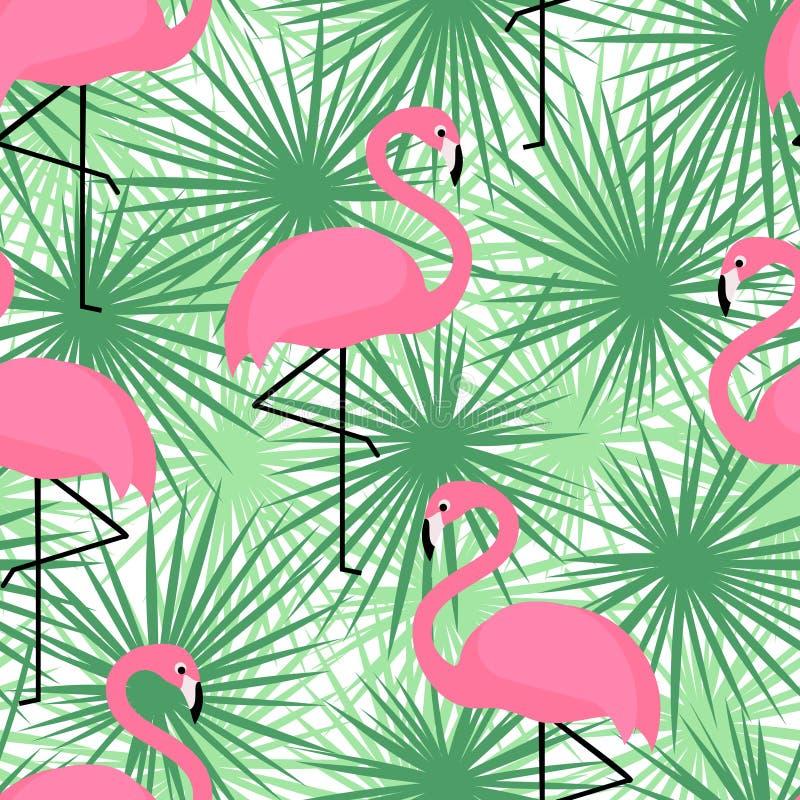 Teste padrão sem emenda na moda tropical com flamingos e folhas de palmeira Fundo exótico da arte de Havaí ilustração do vetor