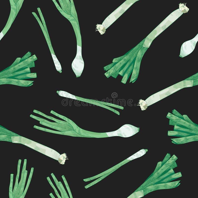 Teste padrão sem emenda natural com o alho poró no fundo preto Contexto com o vegetal orgânico fresco maduro saboroso, alimento fotos de stock royalty free