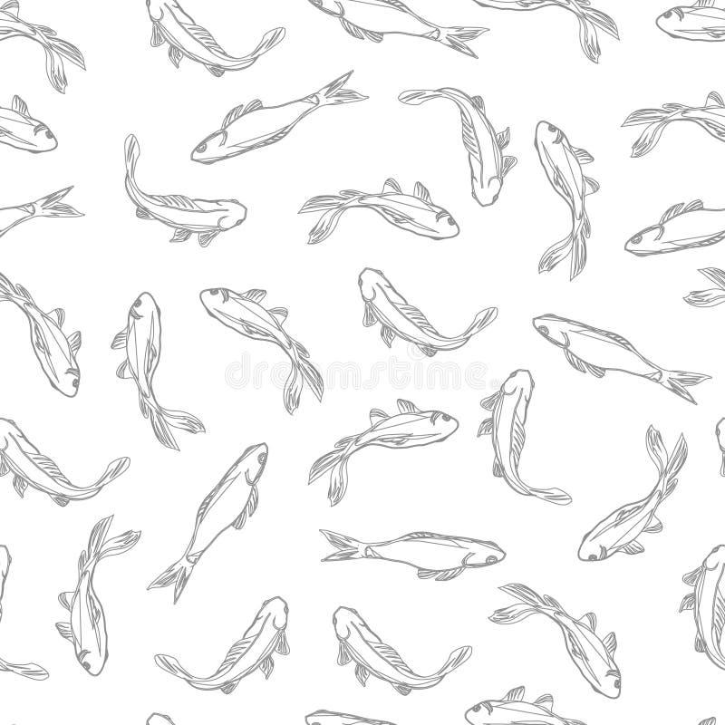 Teste padrão sem emenda neutro dos peixes ilustração do vetor