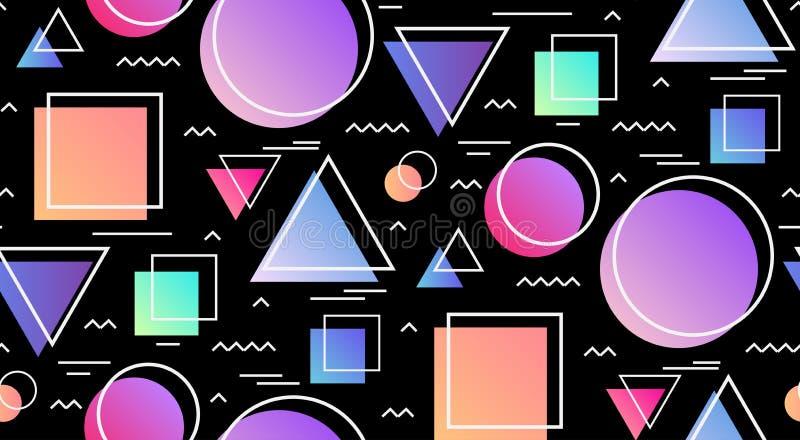 Teste padrão sem emenda no estilo de memphis com formas geométricas no fundo preto ilustração do vetor