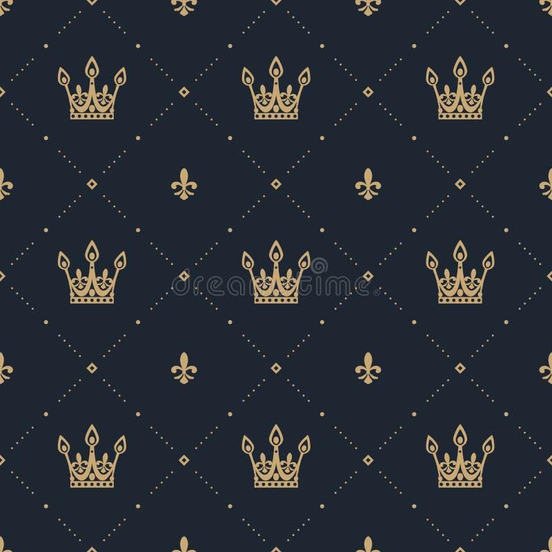 Teste padrão sem emenda no estilo retro com uma coroa do ouro em um fundo azul ilustração stock