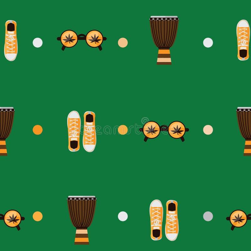 Teste padrão sem emenda no fundo verde Vector as sapatilhas amarelas dos acessórios rastafarian, bongos, monóculos dados forma re ilustração do vetor