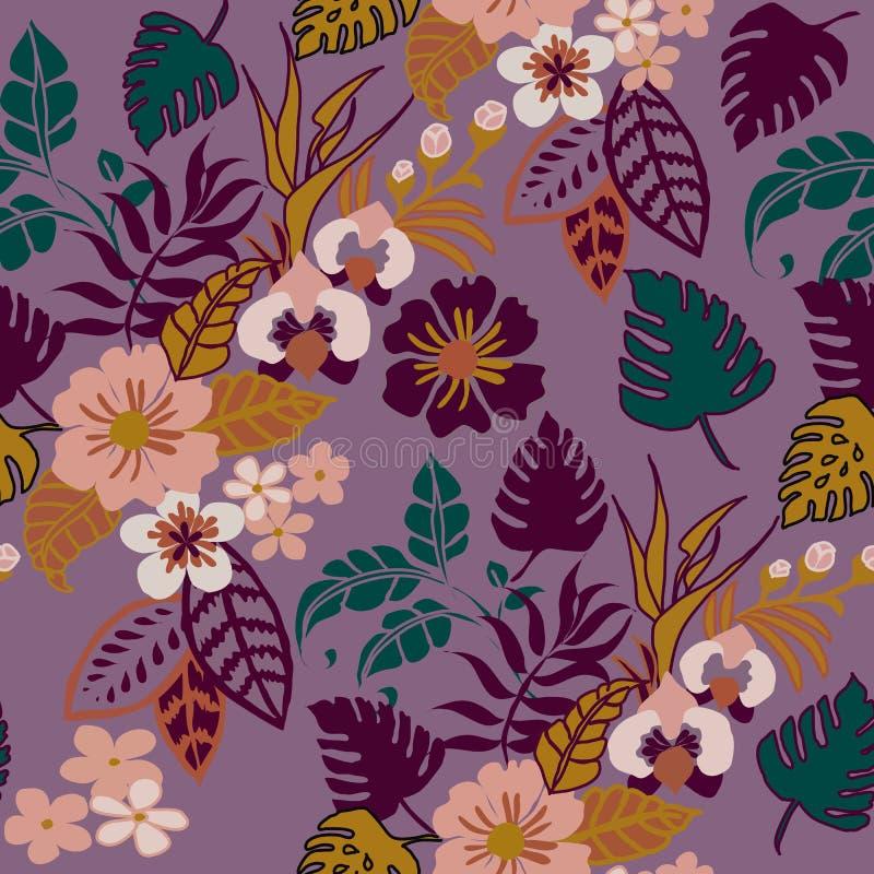 Teste padrão sem emenda no roxo, teste padrão repetido Backround das plantas tropicais da floresta úmida folhas tropicais ilustração stock