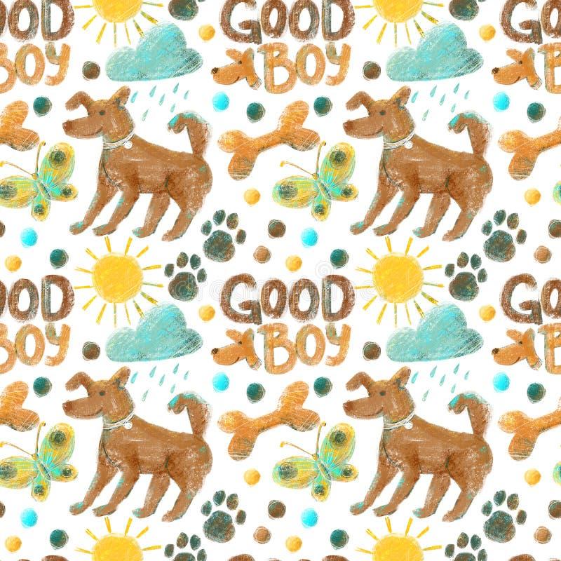Teste padrão sem emenda no tema da vida do cão com cães, pows do cão, ossos, borboletas, nuvens, sol e pontos fotografia de stock royalty free