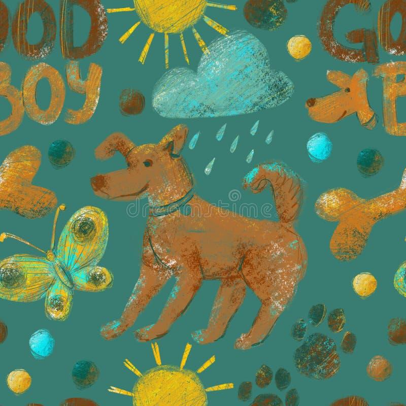 Teste padrão sem emenda no tema da vida do cão com cães, pows do cão, ossos, borboletas, nuvens, sol e pontos ilustração do vetor
