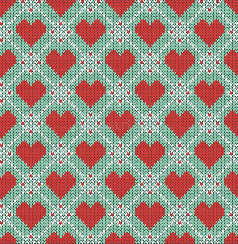 Teste padrão sem emenda no tema do dia de Valentim com uma imagem dos testes padrões e dos corações do norueguês Lãs feitas malha ilustração royalty free