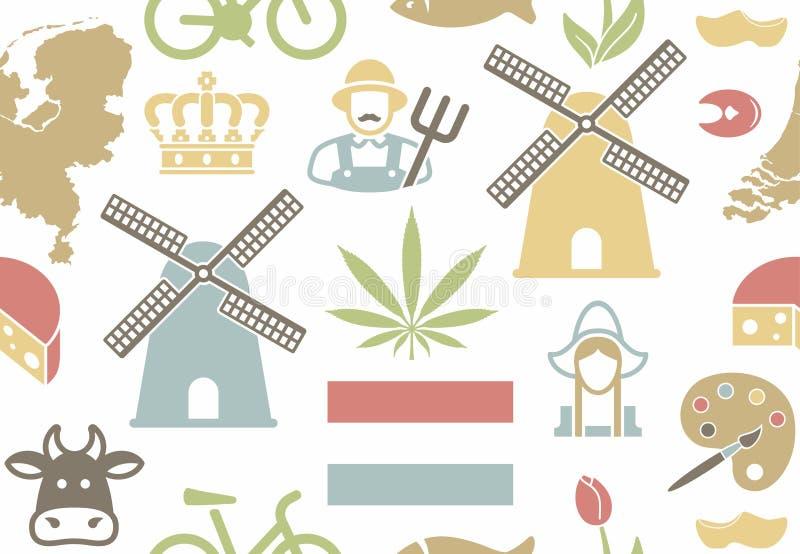 Teste padrão sem emenda no tema dos Países Baixos ilustração stock