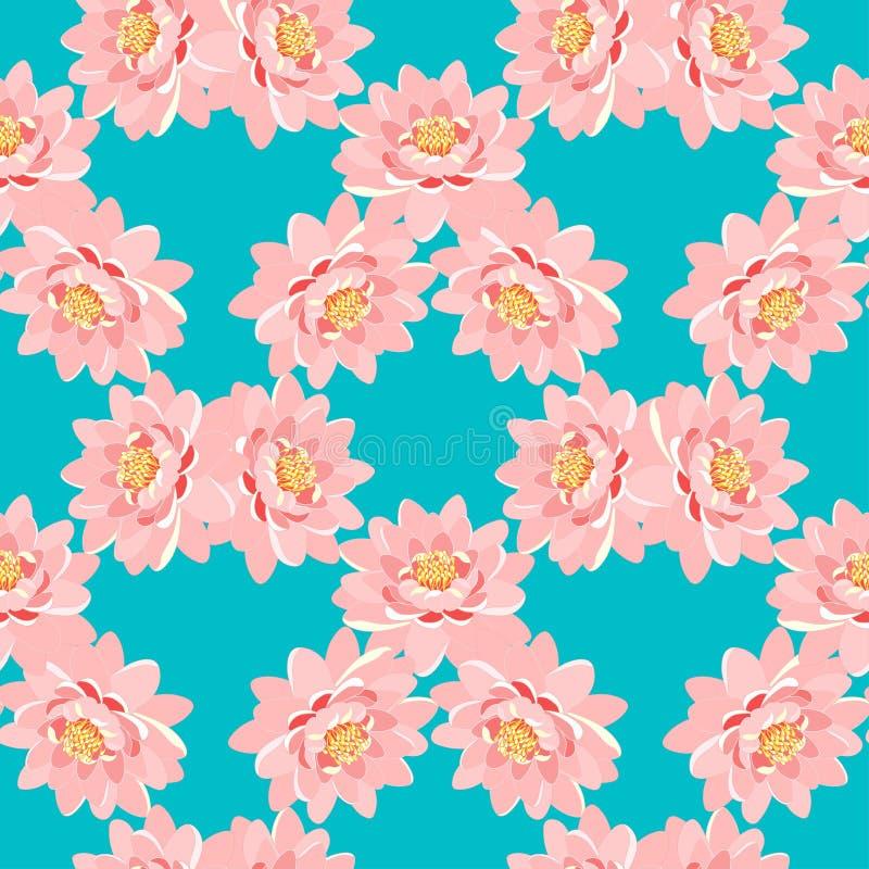 Teste padrão sem emenda o rosa da flor de lótus em um fundo azul ilustração stock