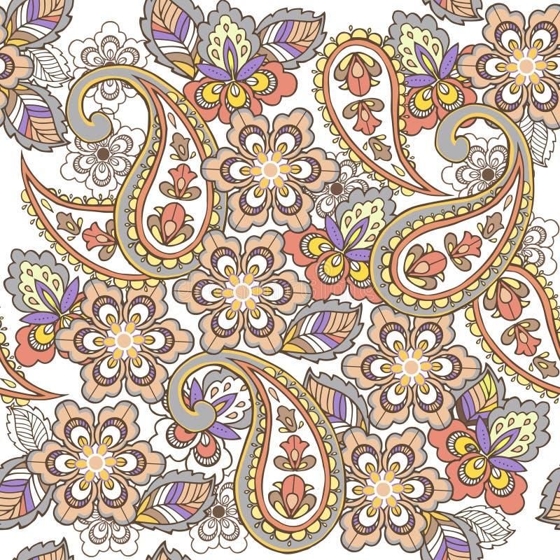 Teste padrão sem emenda oriental de paisley nas cores pastel Contexto decorativo do ornamento para a tela, matéria têxtil, papel  ilustração do vetor