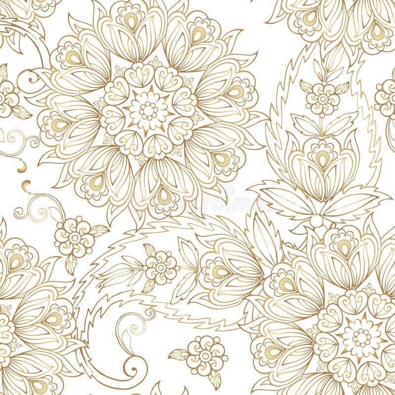Teste padrão sem emenda oriental elegante com paisley Contexto decorativo do ornamento do ouro para a tela, matéria têxtil ilustração royalty free