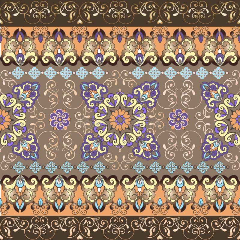 Teste padrão sem emenda oriental listrado Teste padrão pastel com beira do ouro Ornamento decorativo para a tela, matéria têxtil, ilustração stock