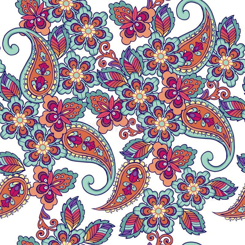 Teste padrão sem emenda oriental tradicional de paisley Contexto decorativo do ornamento para a tela, matéria têxtil, papel de en ilustração do vetor