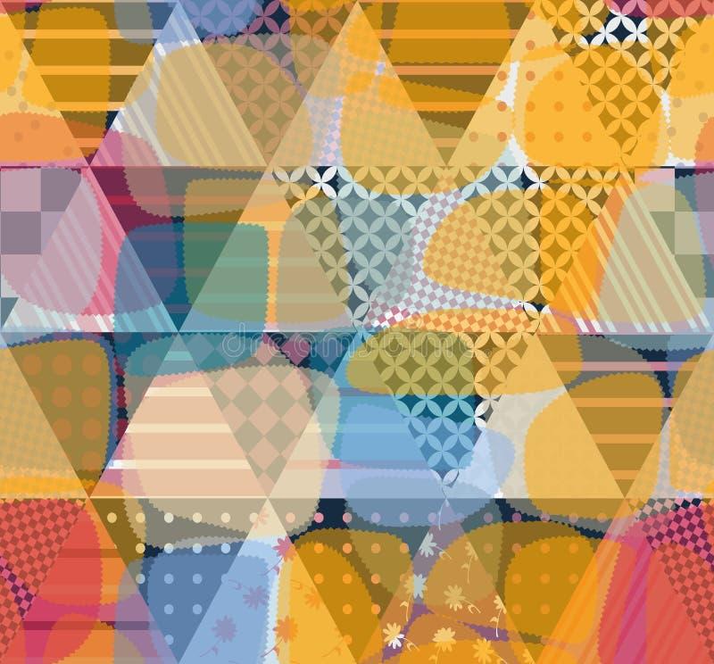 Teste padrão sem emenda original dos retalhos com patchs transparentes Ornamento geométrico no vetor ilustração do vetor
