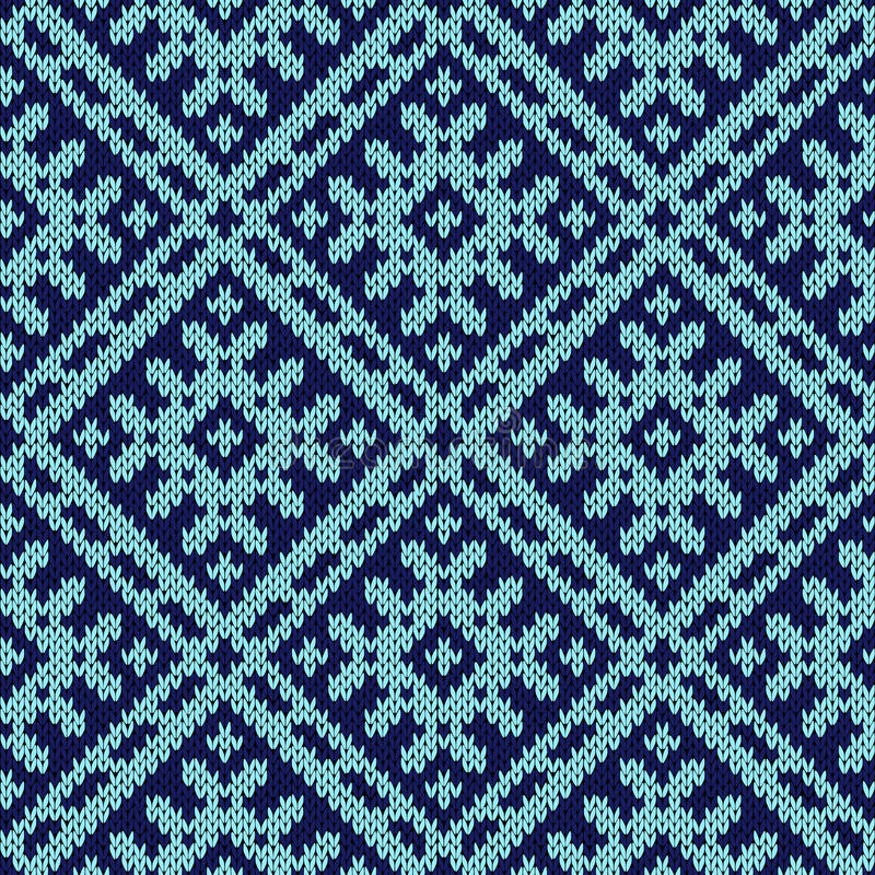 Teste padrão sem emenda ornamentado de confecção de malhas na obscuridade e na luz - matiz azuis ilustração do vetor